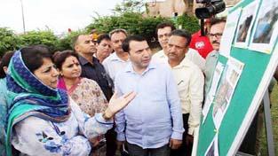 Chief Minister, Mehbooba Mufti taking stock of developmental works at Jammu on Monday.