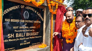Health and Medical Education Minister, Bali Bhagat laying foundation stone of SDH at Kot Bhalwal on Friday.
