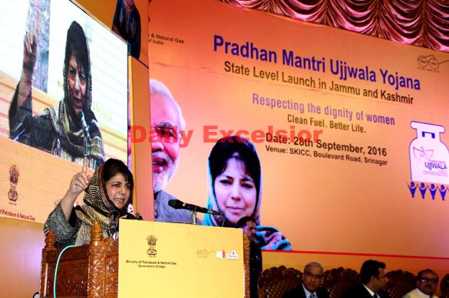 Chief Minister Mehbooba Mufti addressing inaugural event of PM Ujjwala Yojana at SKICC Srinagar.Excelsior\Shakeel-ul-Rehman