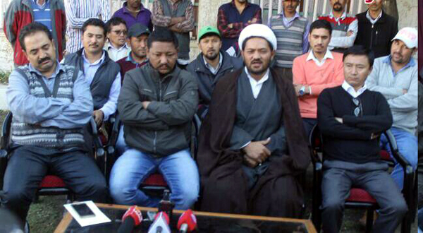 Congress Councilors addressing a press conference in Kargil on Tuesday.
