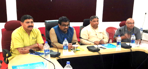 BJP leader Ram Madhav and others during a party meeting at Jammu on Wednesday.