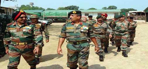 Western Command chief Lt Gen Surinder Singh visiting Jammu on Saturday.