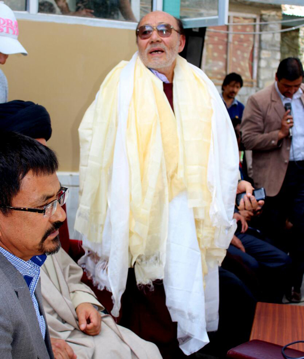 Kacho Ahmad Ali Khan after being elected as Chairman/ CEC LAHDC Kargil on Friday.