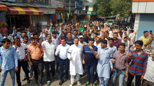 Activists of Panthers Party protesting at Udhampur on Sunday.