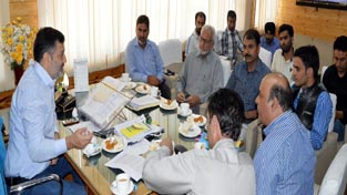 Youth Services and Sports Minister, Imran Raza Ansari chairing a meeting of officers at Srinagar on Wednesday.