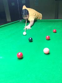 Arjun Sharma in action during a Senior Snooker C'ship match.