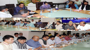 Chief Minister Mehbooba Mufti chairing a meeting in Srinagar on Monday.