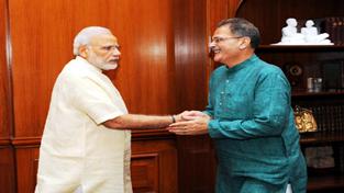 Speaker Legislative Assembly Kavinder Gupta during meeting with Prime Minister Narendra Modi at New Delhi on Thursday.