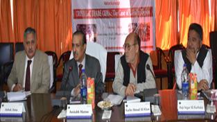 Prof Amitabh Mattoo, Kacho Ahmad Ali Khan, Prof Ashok Aima and Haji Asgar Ali Karbalai during a workshop on 'Cross-LoC Trade CBMs' at Kargil.