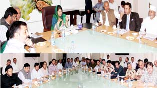 Chief Minister Mehbooba Mufti chairing a meeting in Srinagar on Tuesday.