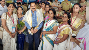 Union Minister Dr Jitendra Singh being accorded traditional welcome by BJP workers on his arrival for BJP National Council Meet, at Kozhikode, Kerala on Saturday.