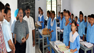 Speaker Legislative Assembly, Kavinder Gupta during visit to a school at Gangyal on Wednesday.