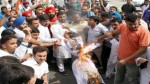 PYC activists burning effigy of Pak Prime Minister Nawaz Sharief during protest in Jammu on Sunday. 	-Excelsior/Rakesh