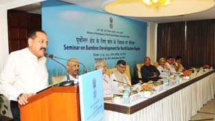 "Union Minister Dr Jitendra Singh delivering inaugural address at the two-day seminar on ""Bamboo Development for North Eastern Region"" at New Delhi on Tuesday."