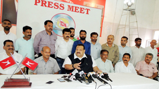NC Provincial President Devender Singh Rana addressing a press conference on Thursday.