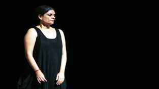 "Jyoti Dogra in scene from the play ""Notes on Chai,"" staged at Abhinav Theatre on Wednesday."