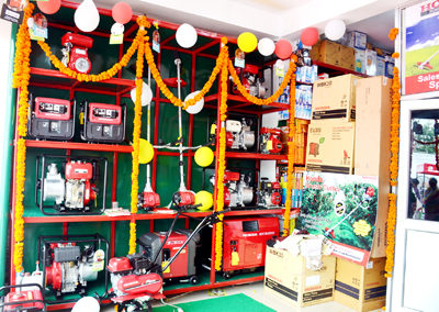 A view of newly opened showroom of Honda Power Products at Jakh on Friday.