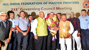 Arun K. Gupta, President J&K Offset Printers' Associations being felicitated after being elected as  Vice President (North) of All India Federation of Master Printers in Bengaluru.