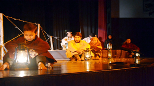 A scene from 'Sartaqs', a play in Purgi language staged during Natya Samagam on Tuesday.