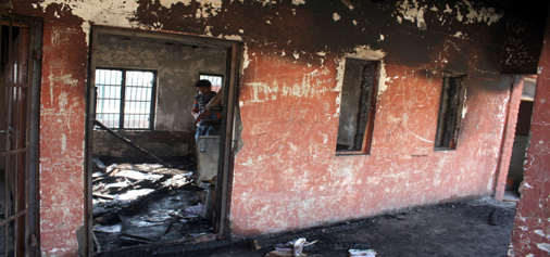 A school torched by miscreants at Goripora, Noorbagh in Srinagar.  —Excelsior/Shakeel