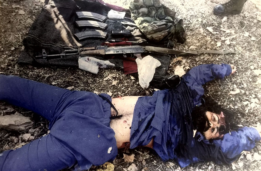 Dead body of LeT commander killed in Lolab area of North Kashmir on Monday.