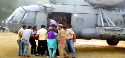 Injured of Reasi accident being airlifted to Jammu.  -Excelsior/Mengi