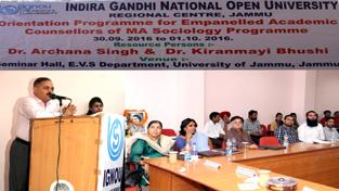 Divisional Commissioner Jammu, Pawan Kotwal addressing an Orientation Programme of IGNOU at Universityof Jammu on Friday.