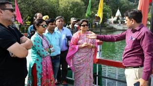 MoS Tourism, Priya Sethi inspecting tourist facilites at Mansar on Friday.