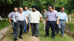 Secretary Horticulture Department, M.H. Mallik during inspection of Departmental Nurseries on Friday.