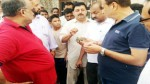Former Minister Sham Lal Sharma interacting with border people in Akhnoor sector on Wednesday.