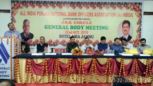 A speaker expressing his views during general body meeting of PNB Officers Association at Jammu on Saturday.