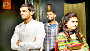 A scene from the play 'Kabab Mein Haddi' staged at Natrang Studio Theatre.
