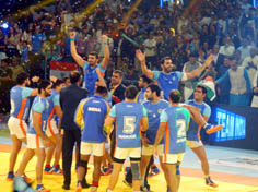 Indian players celebrating after winning the Kabaddi World Cup 2016 final match against Iran in Ahmedabad on Saturday.(UNI)