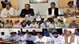 Advisor to CM chairing a review meeting at Chanderkote in Ramban district on Thursday.