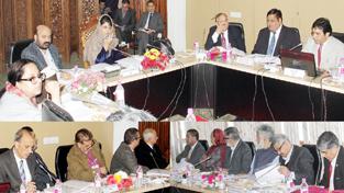 Chief Minister Mehbooba Mufti chairing 43rd SKIMS Governing Body meeting at Srinagar.
