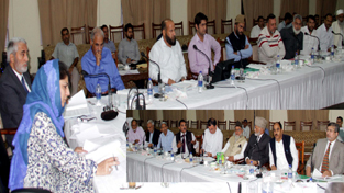 Chief Minister Mehbooba Mufti chairing 17th meeting of J&K State Wakaf Council at Jammu on Thursday.