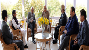 A delegation of National Conference during meeting with Governor NN Vohra on Tuesday.