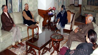Chief Minister Mehbooba Mufti interacting with team led by Yashwant Sinha at Srinagar on Thursday.