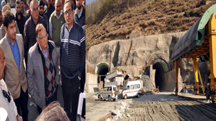 Chief Secretary B R Sharma inspecting work on Chenani-Nashri Tunnel on Friday.