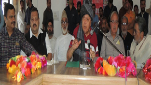National Conference President, Dr Farooq Abdullah addressing party workers at Surankote on Friday.