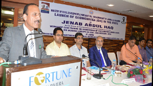 Minister for Rural Development Abdul Haq speaking during a function at Jammu on Tuesday.