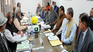 Governor N N Vohra chairing University Council meeting of Jammu University on Thursday.