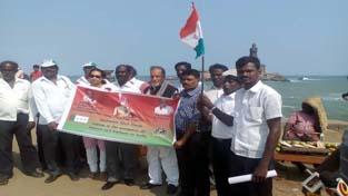 NPP Chief Patron Prof Bhim Singh during rally at Kanyakumari in Tamil Nadu on Thursday.