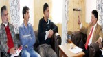 Chief Electoral Officer, Shantmanu chairing a meeting at Srinagar on Wednesday.