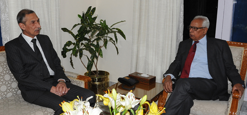 Northern Army Commander Lt Gen D S Hooda in a meeting with Governor N N Vohra in Jammu on Sunday.