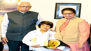 World Champion, Tajamul Islam being felicitated by Governor N N Vohra and Usha Vohra in Jammu.