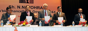 Governor N N Vohra releasing 'Conference Abstracts of Proceedings' during inauguration of ICRTAET at SMVDU on Thursday.