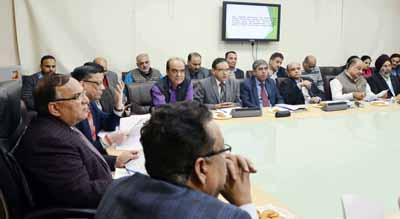Chief Secretary, B R Sharma chairing a meeting at Jammu on Tuesday.