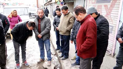 CEC, LAHDC Dr Sonam Dawa reviewing development works in Leh on Wednesday.