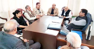 Members of Governing Body of Mubarak Mandi Heritage Society during meeting in Jammu on Wednesday.